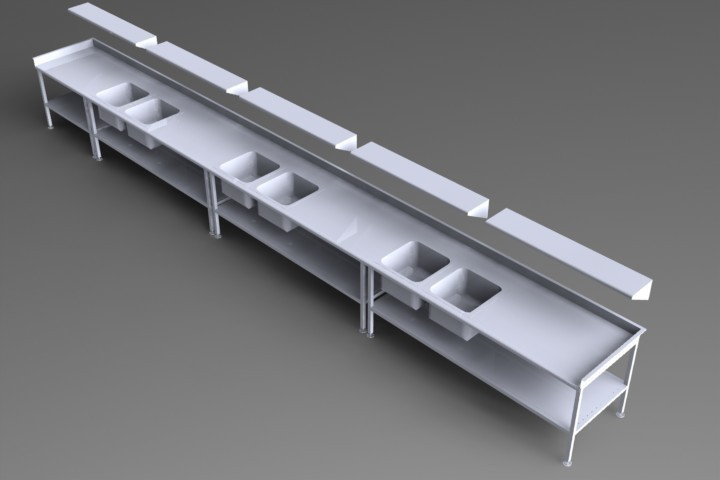 3D model cleanroom sink fabrication