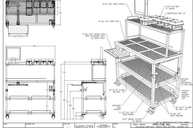 cleanroom workstation with shelving