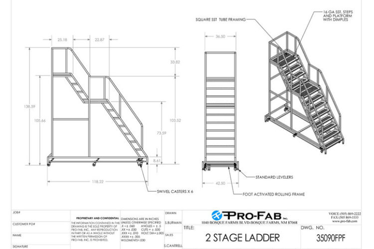 custom 2 stage ladder for factories