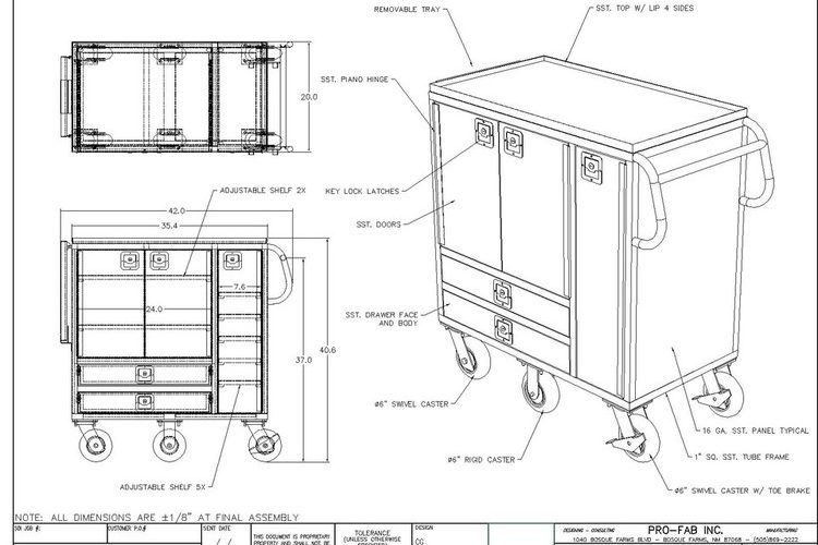 custom tool cart for cleanrooms and manufacturing facilities
