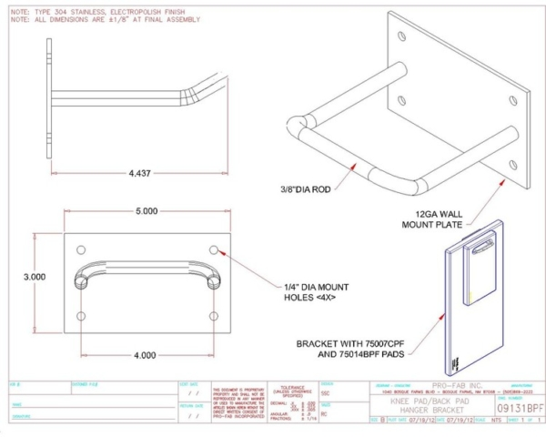 Hanging Bracket for knee and back pads