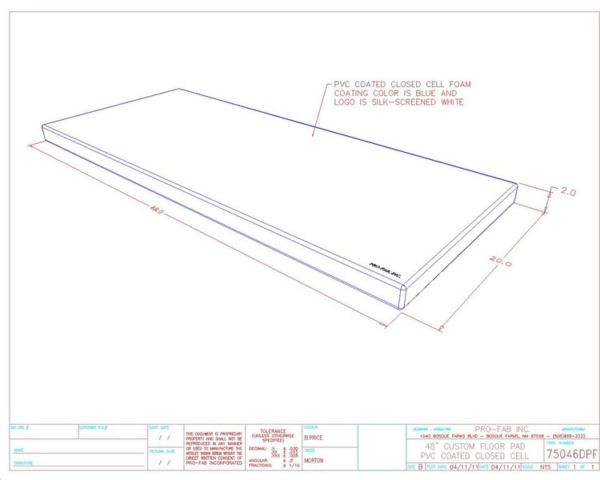 PVC Coated Closed cell floor pad for clean rooms