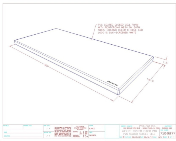 PVC Coated, Closed Cell, Custom Floor Pad for Clean Rooms