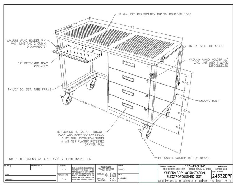 Electropolished Supervisor Workstation
