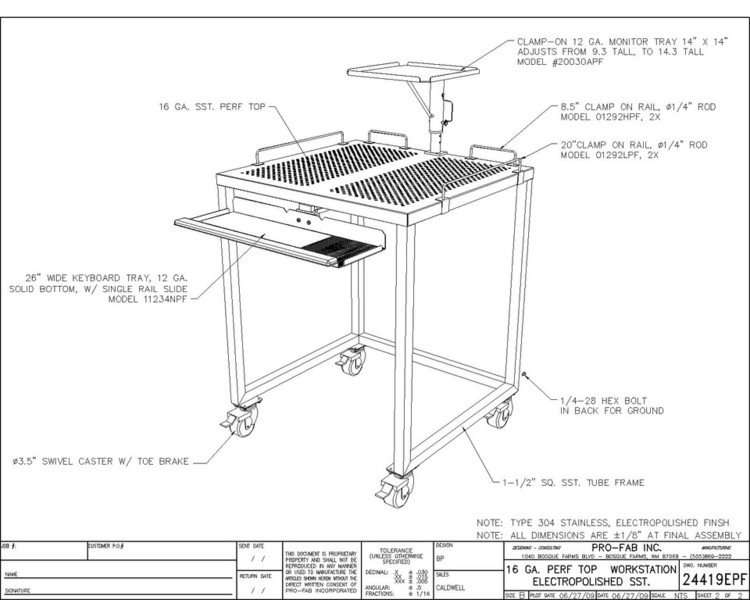 Electropolished Perf Top Workstation